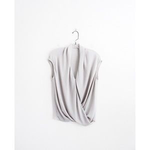 Helmut Lang Light Grey Cap Shroud Twist Top A93